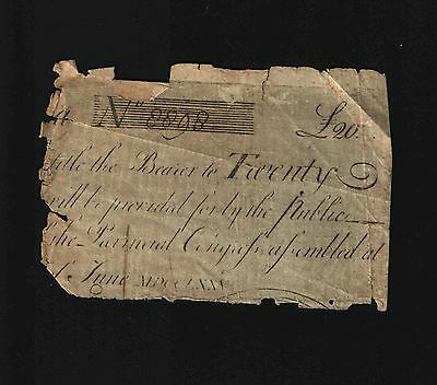 South Carolina Colonial Currency - June 1, 1775 -20 Pounds