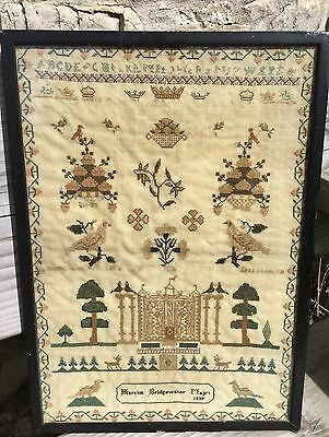 Gorgeous Grand Country House Sampler Harriot Bridgewater  19thc 1839