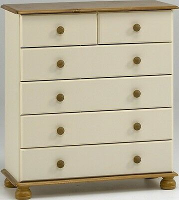 Richmond cream and pine 2+4 drawers bedroom solid spacious chest of drawers