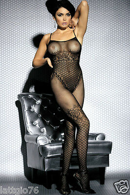 Intimo donna catsuit bodystocking a rete body tuta intera calza corpo DS79711