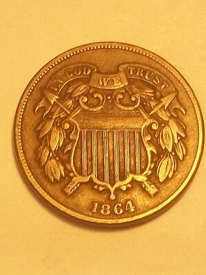 """***1864  Two Cent Piece Full """"we""""   Scarce Old Coin"""