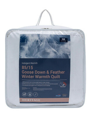 NEW Heritage Winter Warmth 85/15 Goose Down & Feather Quilt