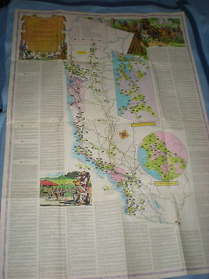 Vintage map Spanish California, Missions, by Westways (AAA) 1956, beautiful