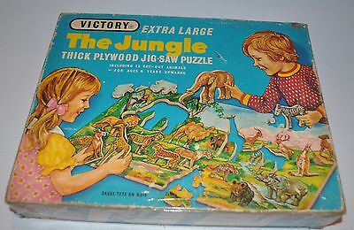 THE JUNGLE Animals Victory Wooden/Wood PUZZLE (Thick Plywood) 1960s