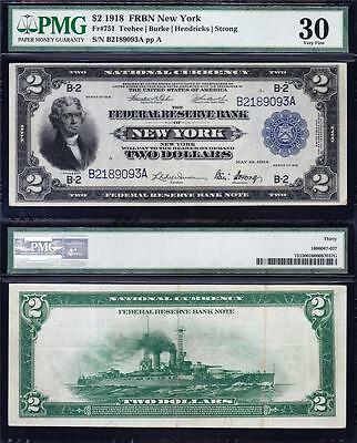 "Awesome RARE Bold & Crisp VF++ 1918 $2 ""BATTLESHIP"" FRBN Note! PMG 30! B2189093A"