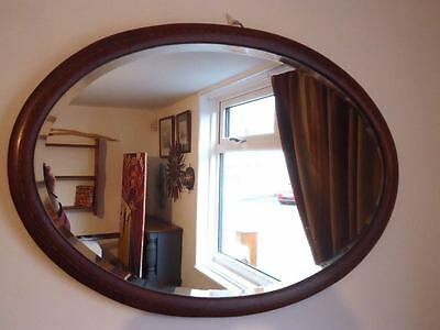 VINTAGE OVAL WALL MIRROR INLAID WOOD FRAMED Bevelled Edge Glass