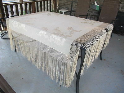 Antique large Scarf with long Fringe Look