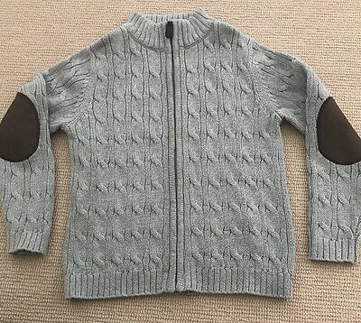 Lands End Boys Cable Knit Full Zip Sweater Size 8