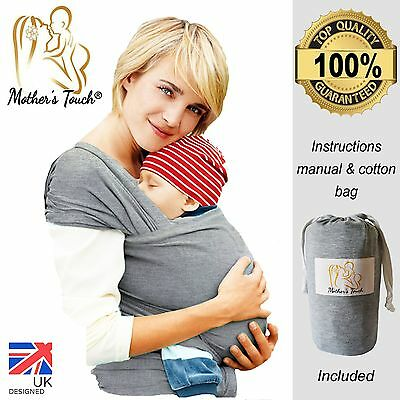 Baby Sling Premium Quality/stretchy Wrap Carrier Breastfeeding Birth-3 Yrs Uk