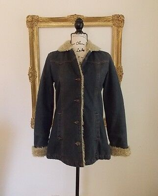 Abercrombie & Fitch Women's Faux Fur Lined Denim Jacket Size Medium