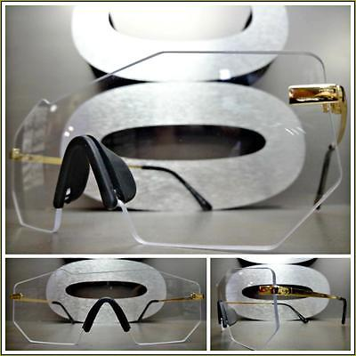 New VINTAGE RETRO Rimless SHIELD Style Clear Lens EYE GLASSES Gold Fashion Frame