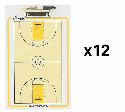 Champion Dry Erase 2 Sided Basketball Coach Coaching Board With Marker (12-Pack)