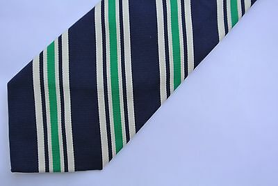 New Ralph Lauren Polo Navy Green Striped Hand Made In Italy 100% Silk Neck Tie