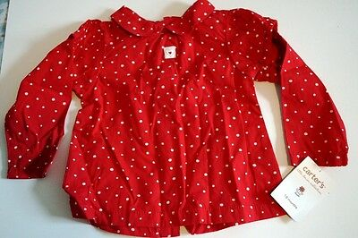 Carter's Little Denim Collection Heart Red Baby Girl's Shirt 18 months NWT NEW