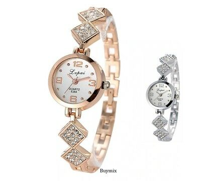 Ladies Stainless Steel Silver Rose Gold Crystal Bracelet Watch Women's Gift