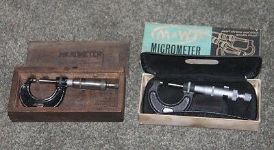2 x Moore and Wright Micrometres Both 1 inch No. 965 Vintage