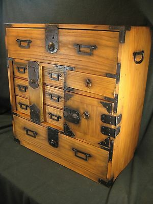 Antique Japanese 130 Yr Old Meiji Era 8 Drawer Paulownia Bow-Dansu Tansu Chest