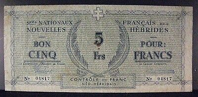 1943 New Herbrides 5 Francs Bank Note Circulated       ** Free U.S. Shipping **