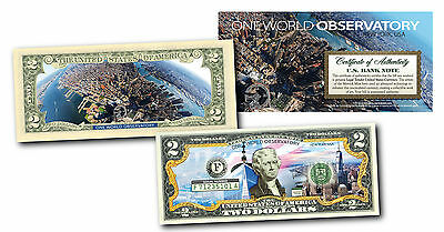 ONE WORLD OBSERVATORY WTC Freedom Tower Genuine Legal Tender $2 Bill 2-SIDED
