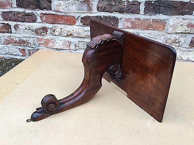 Antique Carved Mahogany Clock Bracket Shelf