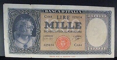 "1961 Italy ""Banca D'Italia"" 1,000 Lire Note Circulated** FREE U.S SHIPPING **"