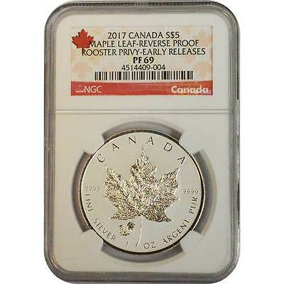 2017 NGC PF69 ER Reverse Proof Canada 1 oz Silver Maple Leaf Rooster Privy