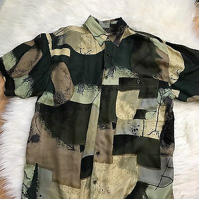 Men's Vintage 80s 90s Silk Goouch Button Front Short Sleeve Shirt Small