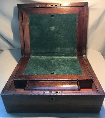ANTIQUE WOODEN TRAVELING SLOPE BOX WRITING LAP DESK  100 Years Old