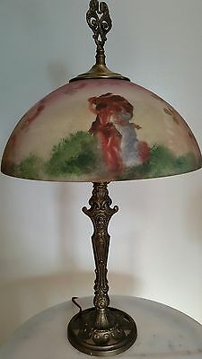 Antique Milcast Cast Iron Lamp W/reverse Style Hand Painted Shade Copyright1926