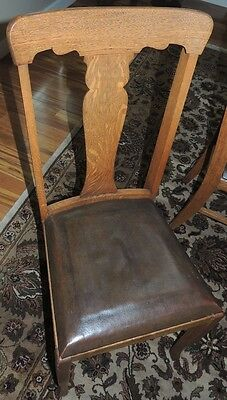 Set of 6 Matching Antique Quarter Sawn Oak Dining Room T-back  Chairs Leather