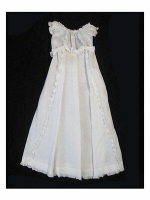 Vintage Baby Gown, Christening Dress, Antique Cotton with Ruffles and Sash