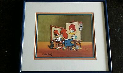 Rare Walter Lantz Signed Woody's Triple Self Portrait Limited Edition Cel 46/200