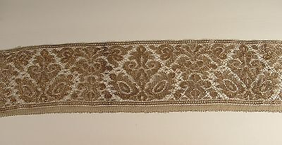 "Antique Vintage Wide Embroidered Type Gold Metallic Lace Trim 5"" X 40"""