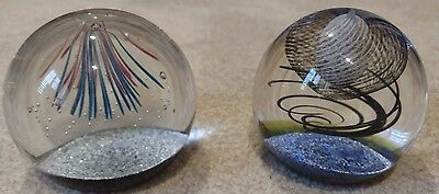 3 Caithness Glass Collectible Paperweights Fireworks, Globe Trotter, Teardrop