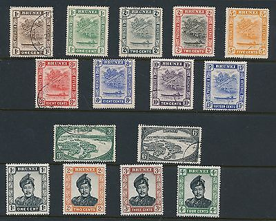 Brunei (1914-1952) 15 DIFFERENT MH & USED AS SHOWN; NO FAULTS; CV $55