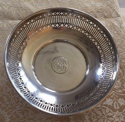 Vintage Tiffany sterling silver bowl, 8 inches, with bag, pierced, NICE!