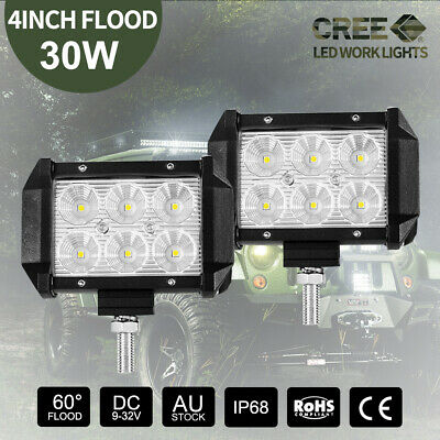 Pair 30W 4 inch CREE FLOOD LED Work Light Bar Off Road Boat 4WD Reverse 12V24V