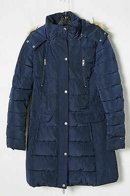 Tommy Hilfiger Navy Blue Quilted Hooded Long Sleeve Zip Up Parka Coat Size S