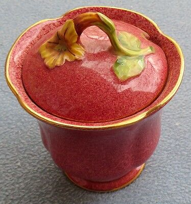Royal Winton Mottled Red w/ Yellow Petunia Covered Jam, Condiment or Sugar Jar