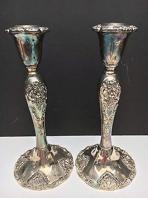 """Pair of Godinger Silver Plated Ornate Candle Holders 8.25"""" Tall"""