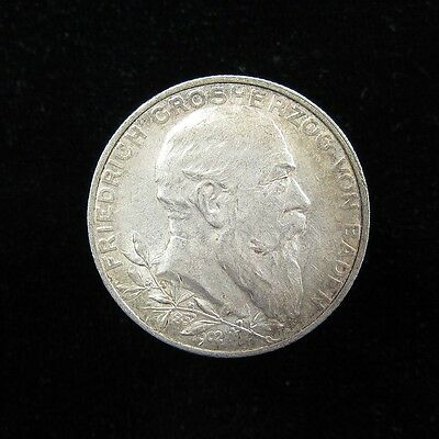 Baden German States Silver 2 Mark 1902 50th Year of Reign