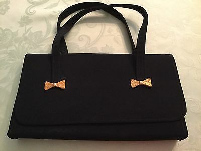 Prom Wedding Evening Bag Purse Handbag Black Material Gold Bows