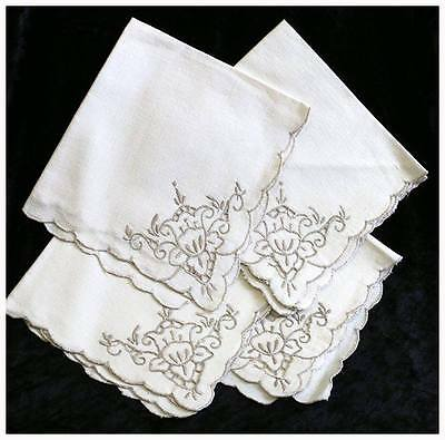 Set of 4 vintage linen floral embroidered napkins 40cm square. #NK3488