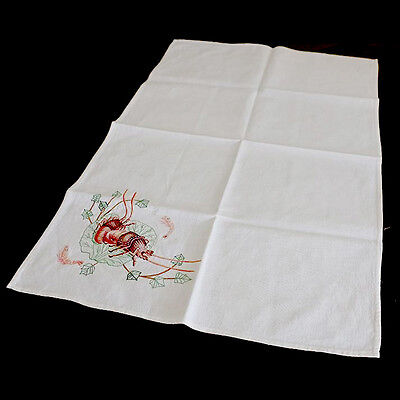 Vintage embroidered linen lobster crayfish prawn yabby large rectangle cloth