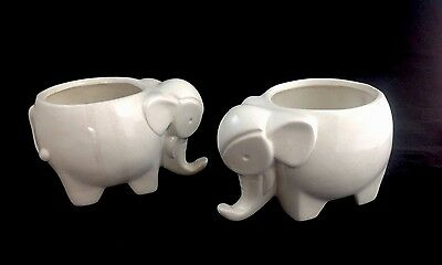 Lot 2 White Elephant Planters Unmarked 4X6X4 Porcelain Lucky Pair