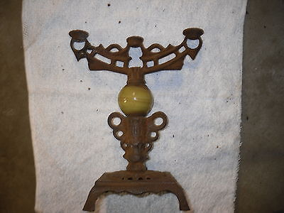 Unusual Antique Cast Iron Candlestick Holder ? Lamp ? stand ? Old Rusty oranate