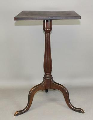 Rare 18Th C Ct Queen Anne Cherry Candlestand Bold Form And In Old Surface