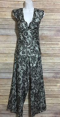 Gilligan O'Malley Pajama Set Black and White Floral Size XL