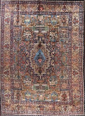 Dynasty Animal Pictorial 8x11 Signed Kashmar Persian Oriental Area Rug Wool