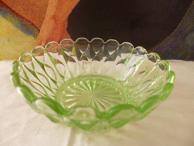 Antique vintage uranium glass bowl crystal trinket dish vanity